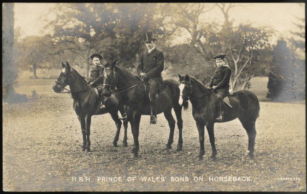 EDWARD VIII as Prince Edward with his brother Albert (later George VI) on horseback, with their instructor