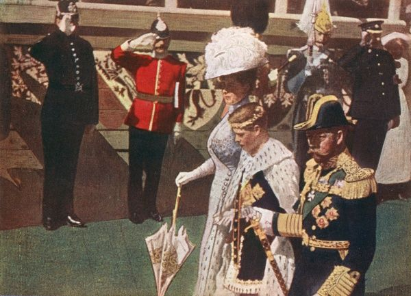 Edward VIII as Prince Edward invested as Prince of Wales at Caernarvon, with his parents George V and Mary Date: July 1911