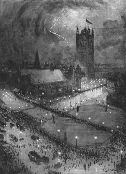 King Edward VII's lying in state at Westminster Hall, London May 16th - 19th 1910. A wonderful night-time scene as thousands of people queue through a thunder storm to pay their respects to the dead King