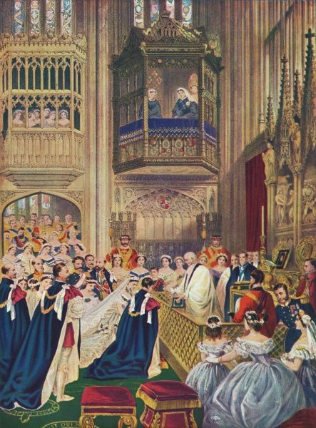 Edward, Prince of Wales, (the future Edward VII) marrying Alexandra, daughter of Kristian IX of Denmark at St Georges chapel, March 10th 1863 Date: March 10th 1863