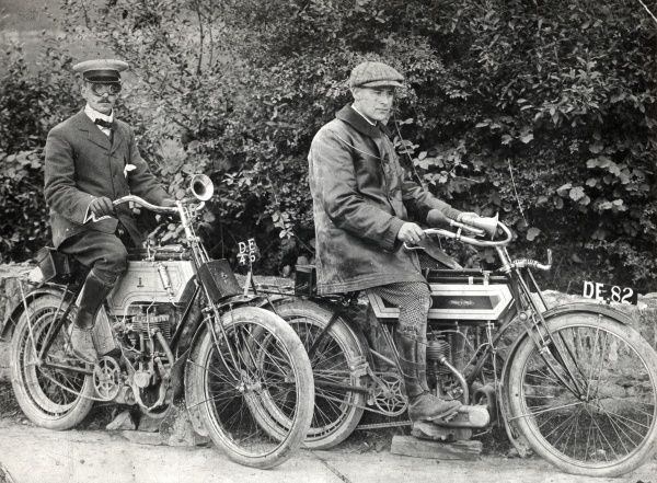 Two Edwardian men on their motor cycles in Pembrokeshire, South Wales