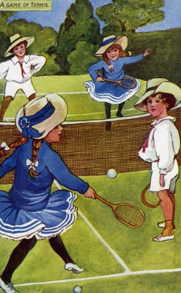 Edwardian children playing tennis. Artist: Hilda Dix Sandford. Edwardian boys and girls playing A Game of Tennis Date: circa 1908