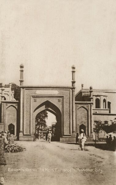 The 'Edwards Gate' or 'Kabul Gate' - the main entrance to Peshawar City, Pakistan leading into the 'Qissa Khawani (storyteller) Bazzar'. Given its later name as a memorial to British Commissioner Sir Herbert Edwards