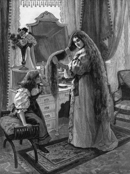 Advertisement or advertorial showing a full page engraving of a Victorian woman brushing her exceptionally long hair, watched by her daughter