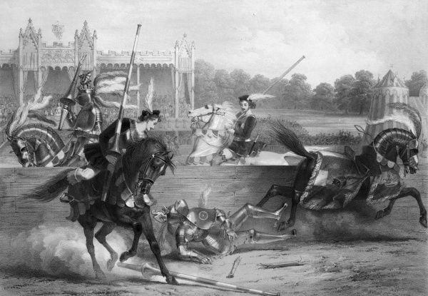 The joust between the Lord of the Tournament (the Earl in person) and the Knight of the Red Rose (R Lechmere Esquire). Date: 30 August 1839