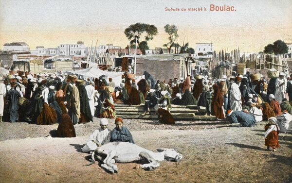 The market at Boulaq (also spelled Bulaq) - a district of Cairo, Egypt. It neighbours Downtown Cairo, Azbakeya, and the River Nile. The name Boulaq comes from the French word of Bon Lac, which means Nice Lake. The name was arabised into Bolaq