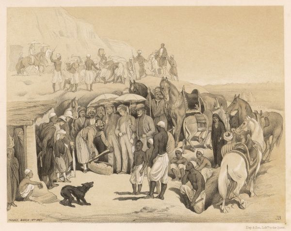 GOURNAH, near Thebes : Discovery of a mummy during an excavation, in the presence of Edward, prince of Wales