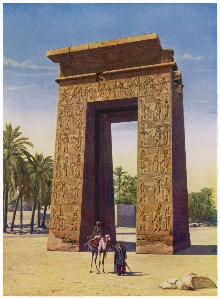 The Propylon of Ptolemy III, in the avenue leading to the temple of Khensu, the Moon God
