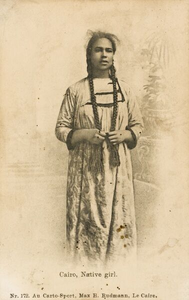 Egypt - Full length portrait of a young Native Girl of the Fellah Tribe with Pigtails