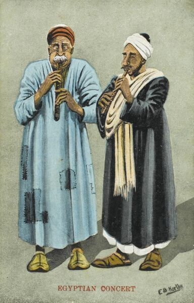 Two Egyptian musician, one is a rather tatty patched-up pale blue jelaba playing pipes