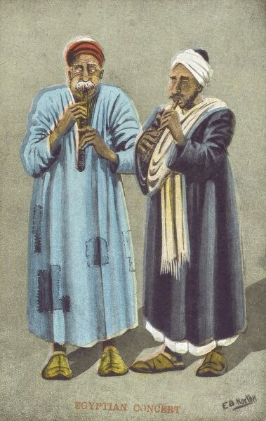 Egyptian Concert - a humorous postcard of two Egyptian men playing pipes, their eyesm crossed in coincentration and their cheeks puffed out!
