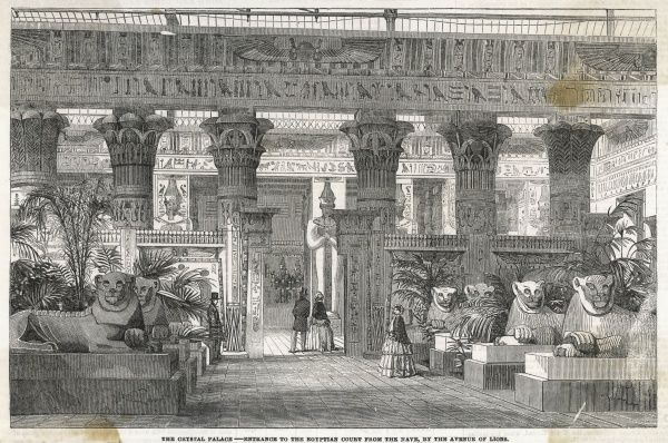 Entrance to the Egyptian Court from the nave, by the avenue of lions