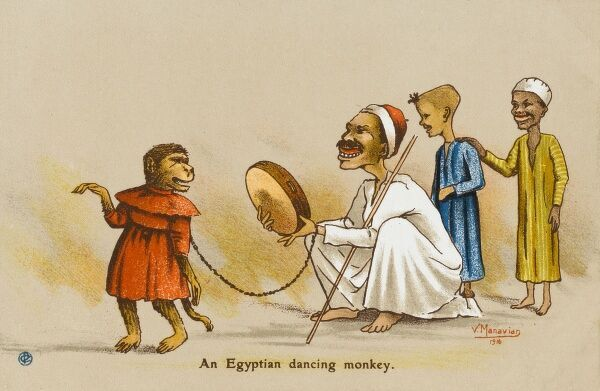 An Egyptian Dancing Monkey and owner, entertaining two small boys. The Monkey's owner has him dressed in a red dress and accompanies his movements with the beat of a hand-held drum
