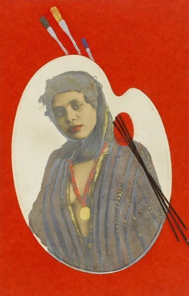 A portrait photograph of a pretty Egyptain girl, set within the framing of an Artist's palette and brushes. She wears a revealing open tunic and a medallion set on a string of red beads