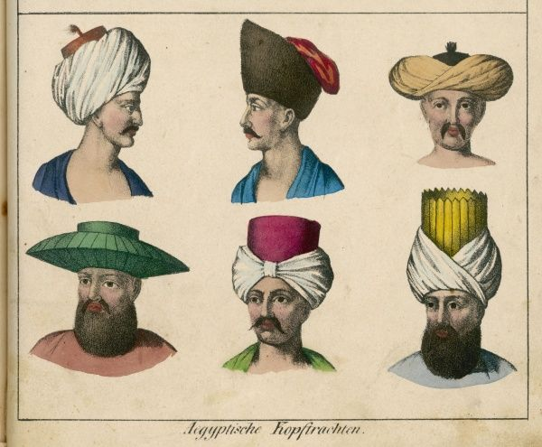 Egyptian men's fashions permit a variety of headdress, most of them variations on the turban