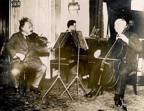 ALBERT EINSTEIN German born physicist. Playing the violin on board the steamer 'Deutschland' from Europe to the USA