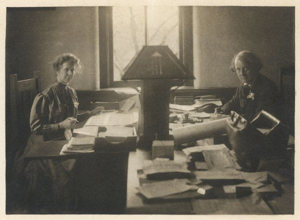 ELBERT HUBBARD American idealist, ethical writer of uplifting stuff and elegant book designer, and his wife in their workplace