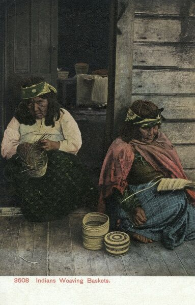 Elderly Native American women weaving baskets Date: 1909