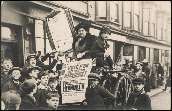 Flora Drummond ('The General) & Phyllis Ayrton campaigning for Christabel Pankhurst in Smethwick. Christabel represented the Women's Party in 1918 & 1919