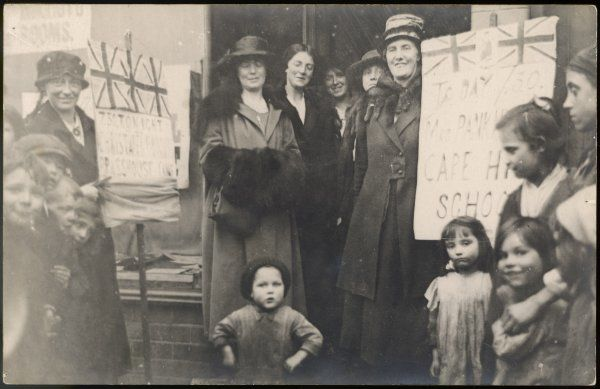 Christabel Pankhurst during her election campaign in Smethwick, after the Qualification of Women Act
