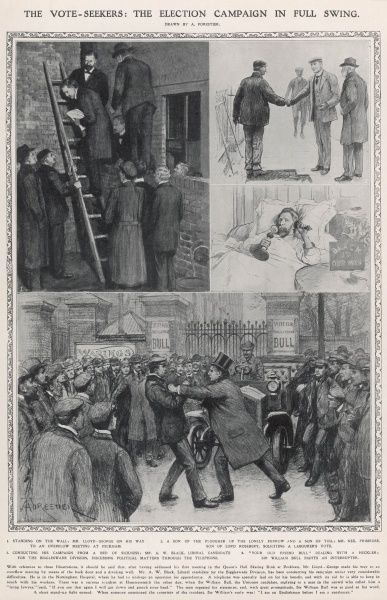 Some curious scenes from the General Election campaign of 1910. The top left picture shows David Lloyd George making his way over the back wall of the Queen Hall Skating Rink in Peckham to address an overflow meeting. The top right picture shows Neil Primrose