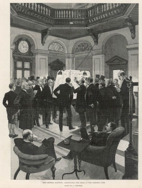 Engraving showing the hall of the Carlton Club, with a large group of members watching the notice boards for news of the General Election of 1892. As soon as news arrived at the club it was posted on the boards for the benefit of the assembled crowd