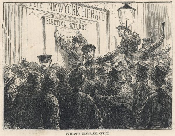 A crowd gathers outside the office of the New York Herald newspaper to read the election returns; they have to be kept in order by police officers