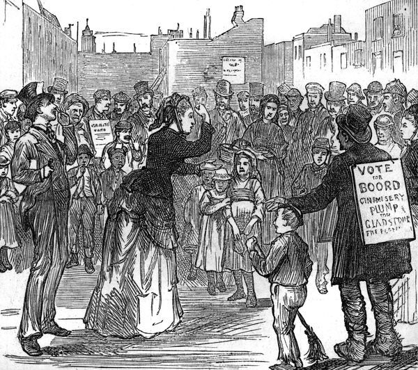 Elections at the London Metropolitan - a woman campaigns for Women's Rights Date: 1874