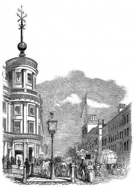Engraving showing the electric clock and time-ball (on left) erected in the West Strand, London, 1852