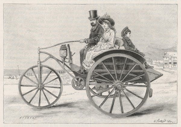 Electric dog-cart : battery- powered. For a while, car designers will look to electricity for their motive power, but sadly, combustion will triumph