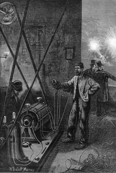 Engraving of electric light apparatus, known as the Dynamo-Electrical machine. Made by the Russian engineer M. Jablochkoff, the machine was employed by him to generate electric currents called the 'Gramme' after the name of its French inventor