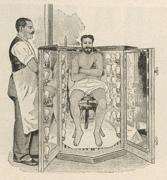 "An electric light bath in the Bilz Sanatorium, Berlin. ""The copious perspiration promotes increased assimilation efficacious in cases of gout asthma, etc."" Early sunbed ?"