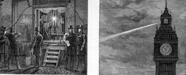 Two engravings from 1873 showing Zenobe Gramme's electric light shining from Big Ben and the electric apparatus in the clock-tower. The light was generated by a small dynamo placed 300 metres away in the basement of the House of Lords