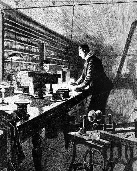 Sketch by Frederic Villiers showing Thomas Alva Edison (1847-1931) US inventor and physicist at work in his laboratory