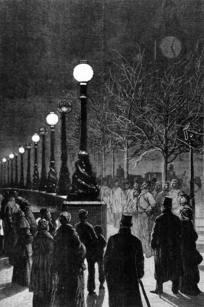 Engraving showing onlookers gazing up at the electric lamps along the Thames Embankment in 1879
