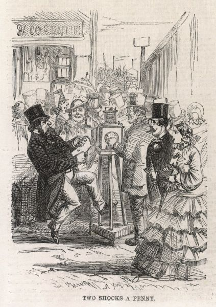 Engraving, originally entitled 'Two Shocks a Penny', showing an electric shock machine which was part of the entertainments at Epsom Racecourse, on Derby Day 1860