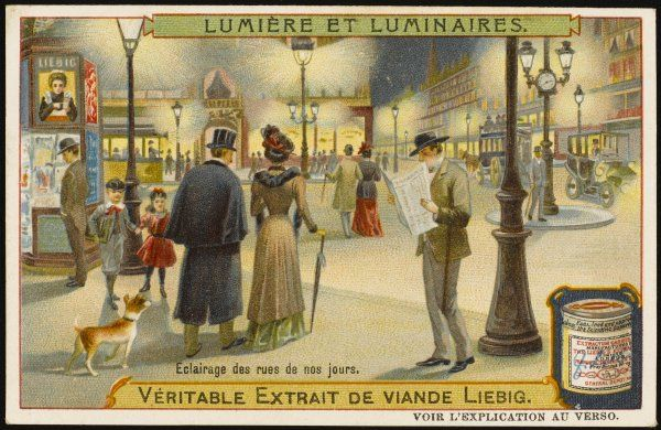 By the start of the 20th century, electricity has become the standard form of street illumination