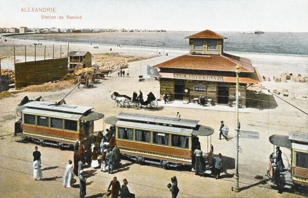 Getting onboard the Electric Tram - Alexandria, Egypt at the Ramleh Station