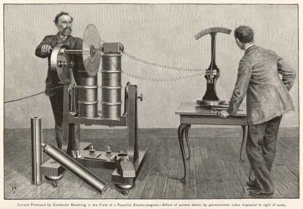 Electric current produced by a conductor revolving in the field of an electro-magnet; current measured by a galvanometer