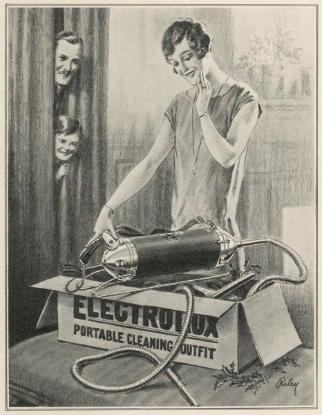 Advert for Electrolux vacuum cleaners, showing a woman opening her Christmas present and looking pleased or bemused that it is one of those new-fangled vacuum cleaners, guaranteed to cut out the drudgery of cleaning and to brighten the home