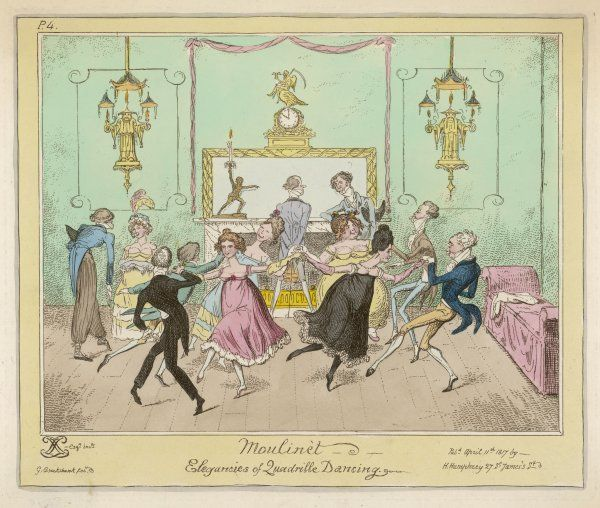 Moulinet - a quadrille step with linked hands. Ladies & gentleman, in an elegantly furnished room, enjoy a dance, while a man in cossack trousers chats up a large bosomed lady