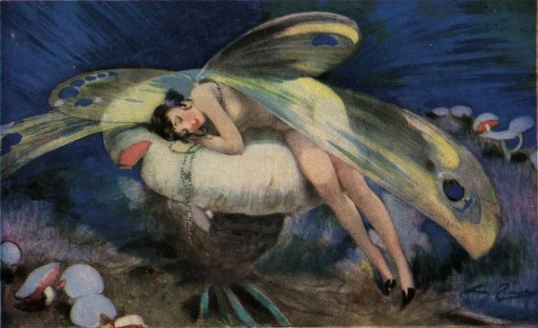 An elegant fairy asleep on a mushroom.  circa 1922