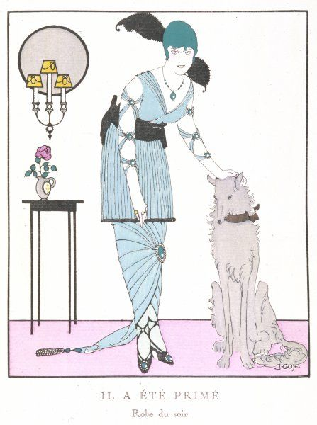 An elegant French lady in an evening gown, with her dog