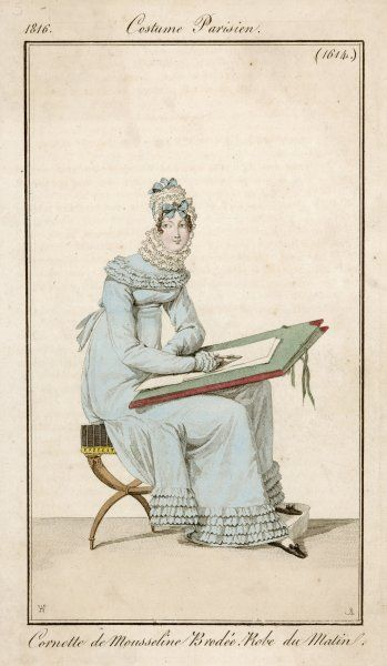 A French lady, wearing an indoor dress, sits on a stool while she sketches