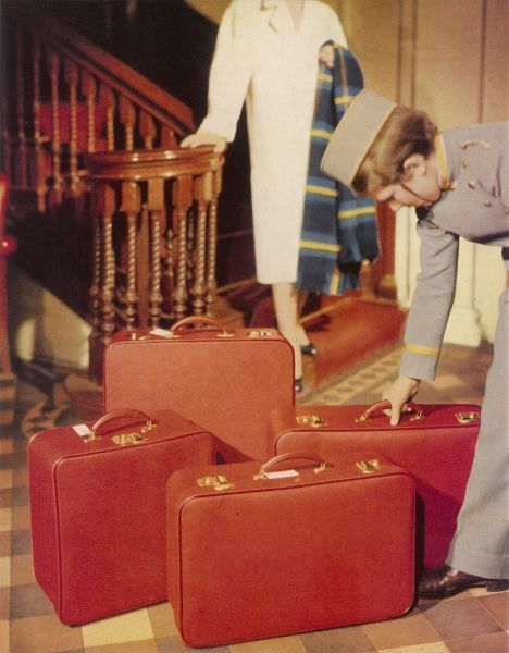 Something more than sturdy usefulness in luggage is required by the elegant traveller nowaday. These Noton soft top cases in the Pandora range are made in matching sets of pig grain and cherry red, with extra-hard wearing, Vinyl-coated imitation leather