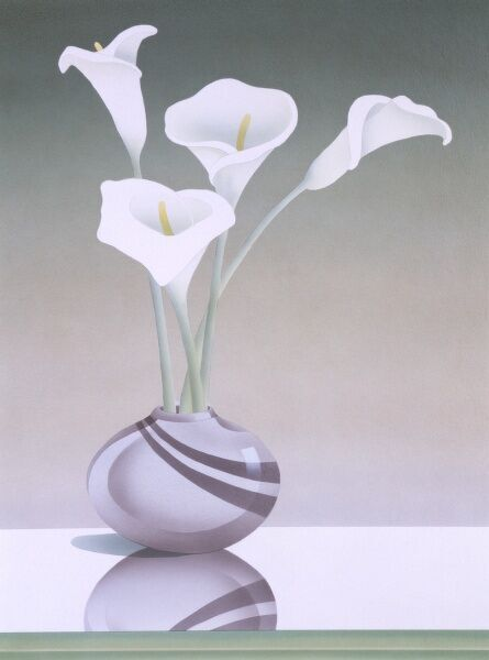 Four elegant lilies in a small round purple vase. Airbrush painting by Malcolm Greensmith