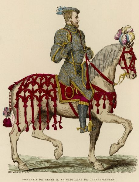 Henri II, king of France, on his elegantly harnessed horse, with plume of feathers on its head and tassels on its neatly tied tail