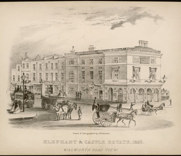 The 'Elephant & Castle' public house, seen from Walworth Road with a horse bus, a hansom cab, a horse-drawn wagon and a dog cart as well as various pedestrians