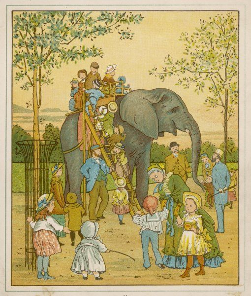 Elephant rides for children at Regent's Park Zoo : the passengers mount by ladder