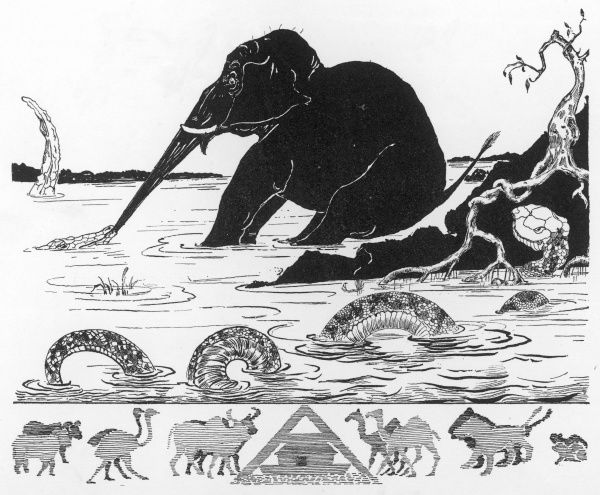 THE ELEPHANT'S CHILD Kipling's tale of how the elephant got his trunk. A crocodile tugs at the elephants nose, and thus he develops a trunk!